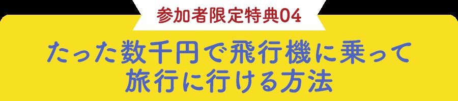 たった数千円で飛行機に乗って旅行に行ける方法